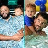 DJ Khaled and his son Asahd & Michael Phelps with son Boomer