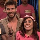 Alex Moffat as Chris Hemsworth and Miley Cyrus as Amanda are joined by Liam Hemsworth on 'SNL'