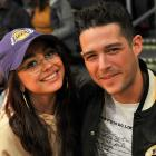 Sarah Hyland and Wells Adams at Lakers game