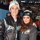 Miles Teller and Keleigh Sperry at the Super Bowl.