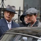 Actors Edward Norton and Bruce Willis are seen on the set of 'Motherless Brooklyn' movie in harlem on February 6, 2018 in New York City