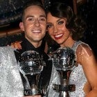 Adam Rippon and Jenna Johnson hold their Mirrorball Trophies After Winning 'DWTS'