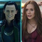 Tom Hiddleston as Loki and Elizabeth Olsen as Scarlet Witch in the Marvel Cinematic Universe