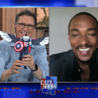 Stephen Colbert and Anthony Mackie on the Late Show