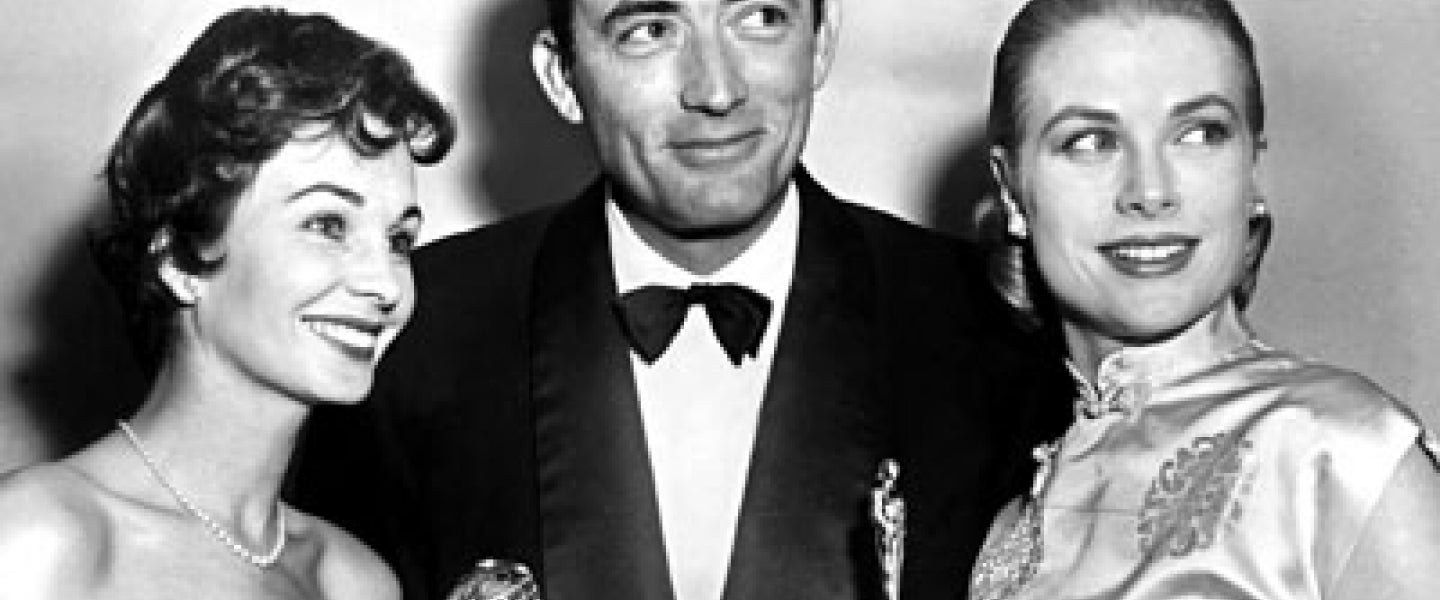 Grace Kelly, Jean Simmons and Gregory Peck at Golden Globes