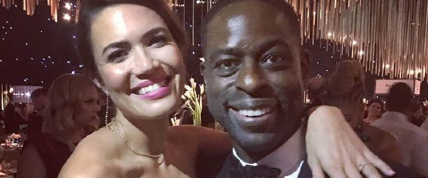 Mandy Moore and Sterling K. Brown at Emmys