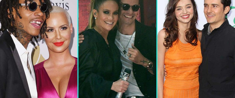 Amber Rose and Wiz Khalifa, Marc Anthony and Jennifer Lopez, Miranda Kerr and Orlando Bloom