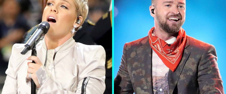 Pink and Justin Timberlake at Super Bowl LII