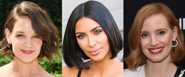 celebrity short haircuts summer 2018 Katie Holmes Kim Kardashian Jessica Chastian