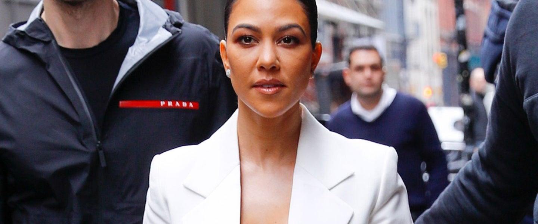 Kourtney Kardashian in nyc - white suit