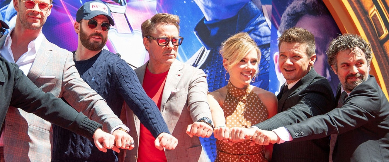 Chris Hemsworth, Chris Evans, Robert Downey Jr., Scarlett Johansson, Mark Ruffalo and Jeremy Renner at hand and footprint ceremony