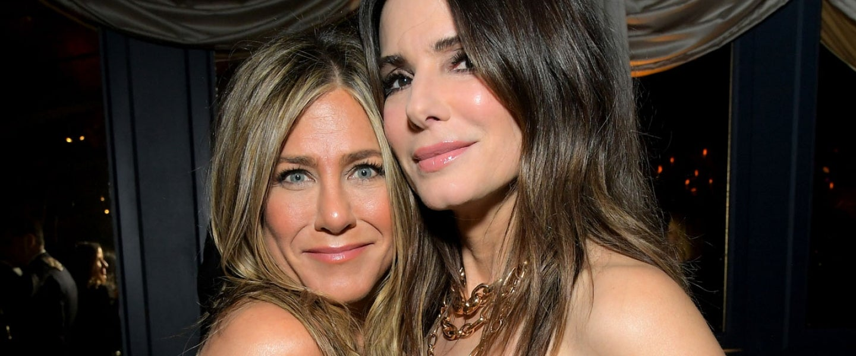 Jennifer Aniston and Sandra Bullockat gg party