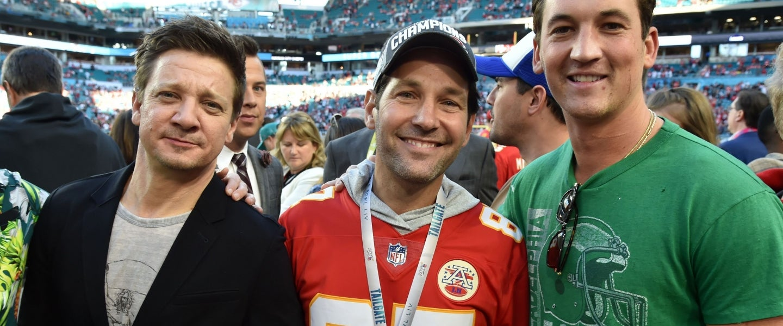Jeremy Renner, Paul Rudd and Miles Teller at Super Bowl LIV