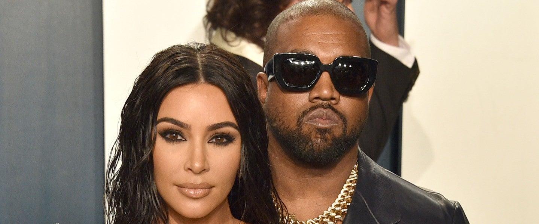 kim kardashian and kanye west at 2020 vf party