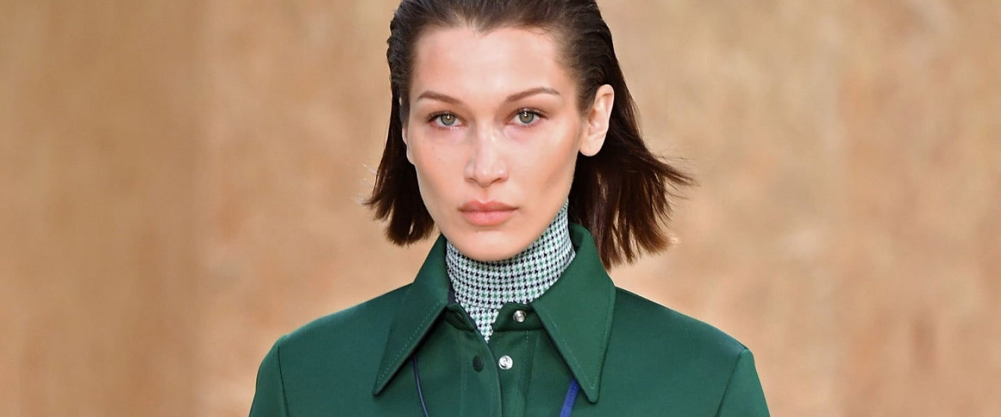 Bella Hadid walks the runway during the Lacoste as part of the PFW