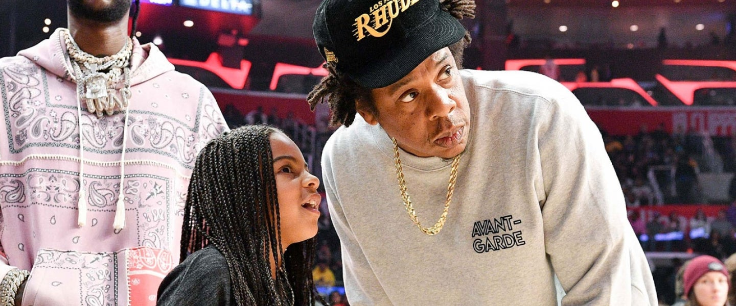 blue ivy and jay z at lakers-clippers game