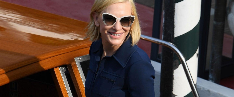 Cate Blanchett on boat in venice