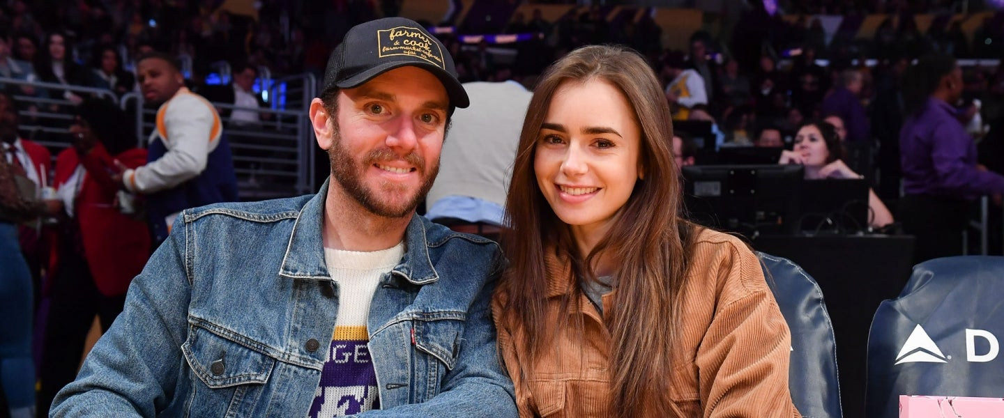 Lily Collins and Charlie McDowell at Los Angeles Lakers game