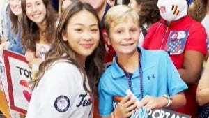 Suni Lee's Young Fan Gets Emotional as He Meets the Gold Medalist