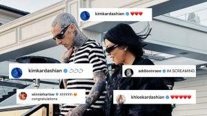 Kardashians, Addison Rae and More React to Kourtney Kardashian and Travis Barker's Engagement