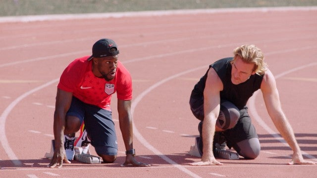 Kevin Hart and James Van Der Beek Attempt Grueling Track and Field Races (Exclusive)