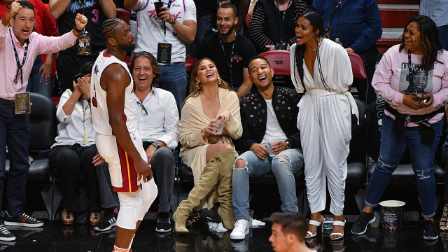 John Legend Doesn't Drop His Drink in Dwayne Wade Courtside Collision