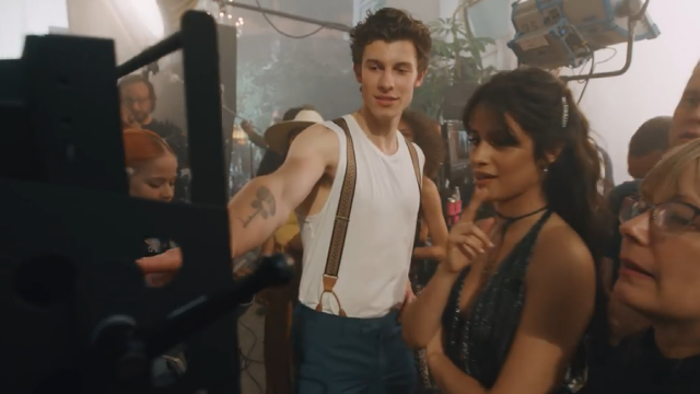 camila and shawn from BTS of their music video