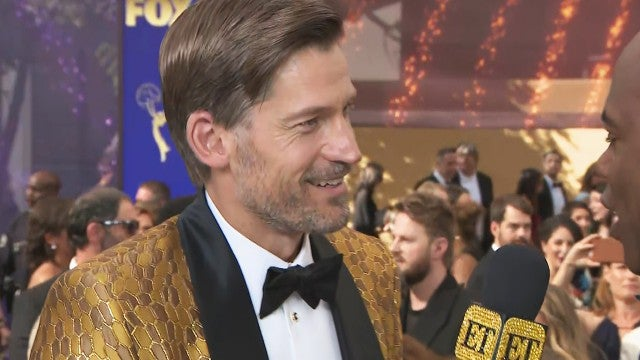 'Game of Thrones' Star Nikolaj Coster-Waldau Rocks Lannister Gold to the Emmys