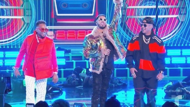 Anuel AA Burns Up the Stage With Surprise Guests | The Best of ET at the Latin AMAs