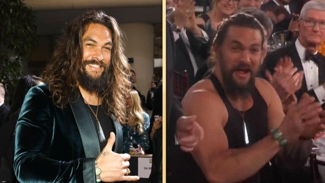 Jason Momoa Swaps His Tux for a Tank Top Inside the Golden Globes!
