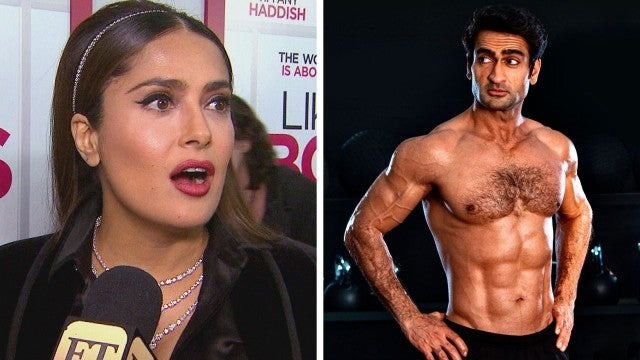 Watch Salma Hayek React to 'Eternals' Co-Star Kumail Nanjiani's Body Transformation! (Exclusive)