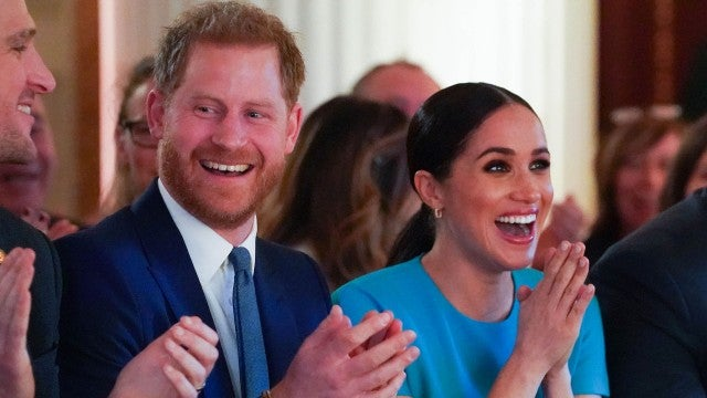 Watch Meghan Markle and Prince Harry React After Couple Gets Engaged in Front of Them