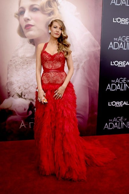 Blake Lively Works A Stunning Red Lace Dress See Through