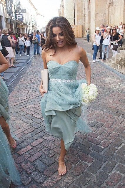 robe de célébrité Eva Longoria bustier cœur turquoise