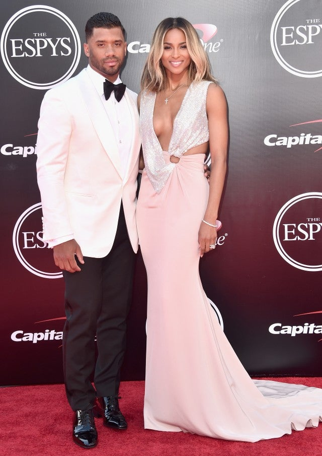 Ciara Shows Off Giant Wedding Ring Rocks CleavageBaring Gown in