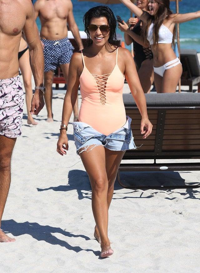 Kourtney Kardashian Rocks Thong Swimsuit In Miami See The
