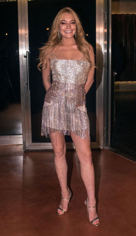 Lindsay Lohan Rocks Tiny Pink Mini On Opening Night Of Her