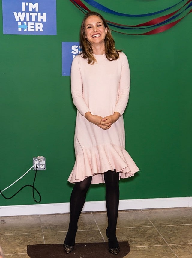 Natalie Portman Shows Off Baby Bump In Sweet Pink Dress