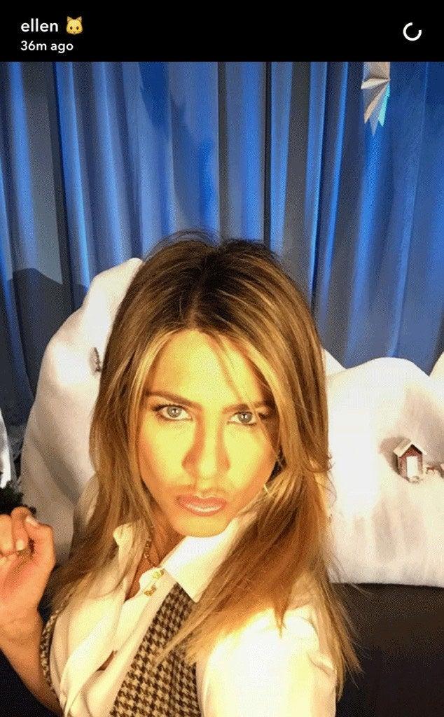 jennifer aniston takes her first snapchat selfie  thanks to ellen degeneres