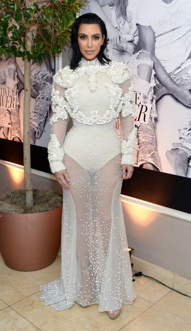 Kim Kardashian Stuns in Sheer White Gown, Shows Off Sleek New ...