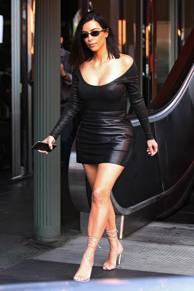 Kim Kardashian Wears Skintight Leather Look To Lunch Gets Very