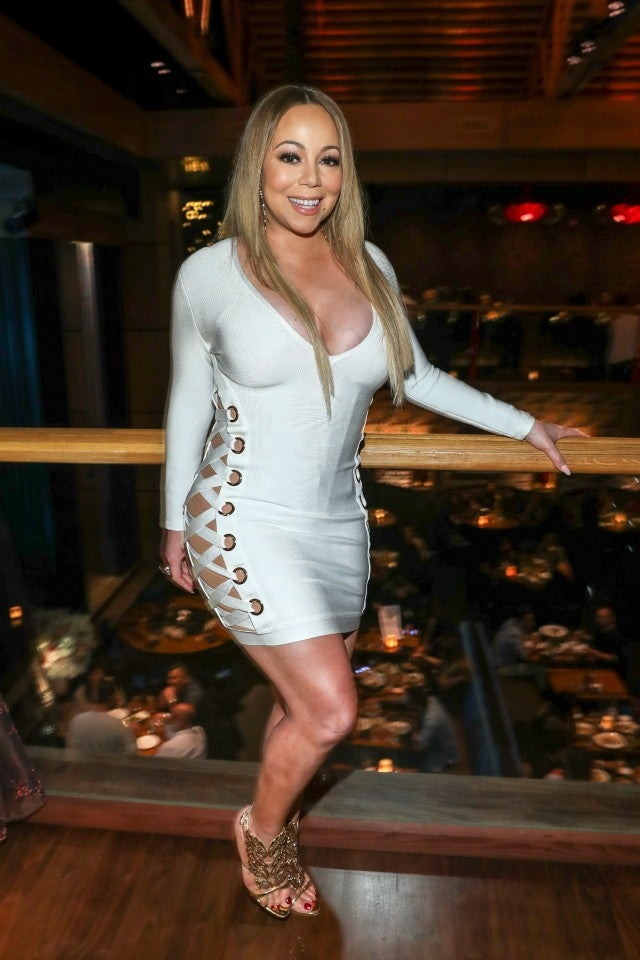 Mariah Carey Rocks Skintight Mini-Dress To Birthday Bash -5495