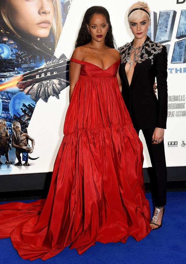 Rihanna Shows Major Cleavage In Head Turning Red Dress At