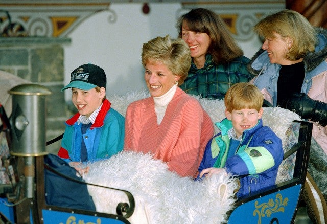 Princess Diana with Prince William and Harry