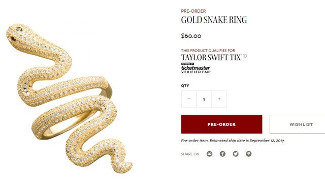 Taylor Swift Snake Ring