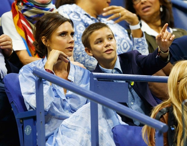 Victoria and Romeo Beckham at the 2017 US Open