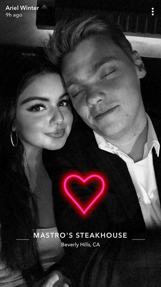 Ariel Winter and Levi Meaden at dinner