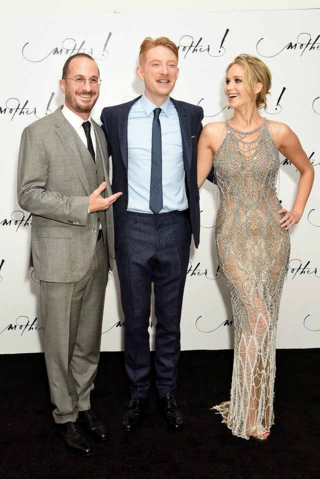 Darren Aronofsky, Domhnall Gleeson and Jennifer Lawrence at 'Mother!' premiere in London