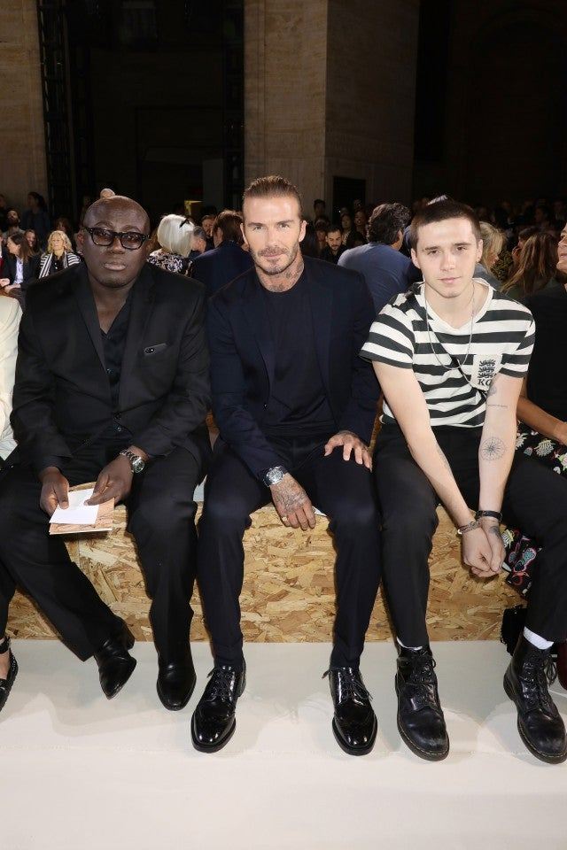 Brooklyn Beckham, David Beckham at New York Fashion Week