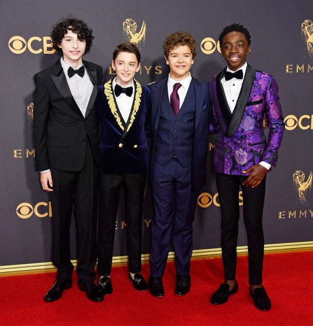 Actors Finn Wolfhard, Noah Schnapp, Gaten Matarazzo and Caleb McLaughlin attend the 69th Annual Primetime Emmy Awards at Microsoft Theater on September 17, 2017 in Los Angeles, California.